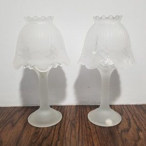 Partylite | Frosted Glass Candle Holder Lamps Set